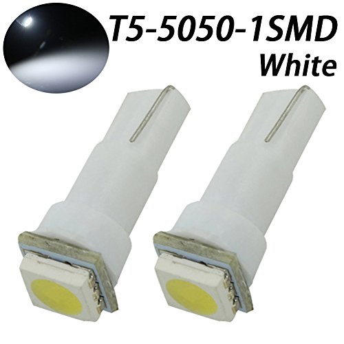 TABEN Lot de 2 ampoules LED T5 37 73 74 79 17 57 1-5050-SMD pour tableau de bord Blanc