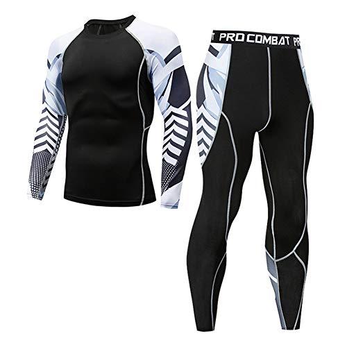 Morbuy Fitness Sportanzug Herren, 2 Stück Funktionsshirt Tights Schnell Trocknend Kompressions T Shirt & Kompressions Leggings Bekleidung (M, B)
