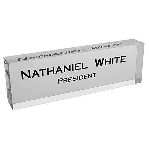 Placa de nombre para escritorio de oficina personalizada, accesorios de escritorio, diseño personalizado en vidrio transparente, placas de nombre para escritorios en decoración de cristal, 3