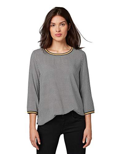TOM TAILOR Damen T-Shirts/Tops Gemustertes Shirt Black White Pepita Check,XS