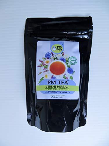 Serene Herbal PM Tea- A blend of Chamomile, Spearmint, Lemon Myrtle, Lemon Verbena and Lavender flowers. All Natural. No Caffeine.Sleep-Friendly | 20 Pyramid Tea Sachet Bags