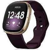 findway Armband Kompatibel für Fitbit Versa 3 Armband/Sense Armband, Sport Armband für Damen Herren Silikon Ersatzarmband Weiches Uhrenarmband Dunkelviolett (Kein Tracker)