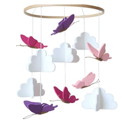 Chenso - Carillón de viento para niños, cuna de bebé, colgante de fieltro, con sonajero musical, cama para bebés, carillón de viento, para decoración de habitación infantil