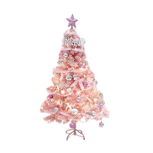 ZHENYANG Albero in Fibra Ottica di Natale con la Decorazione, Rosa floccaggio Environmentally Friendly Resina PVC Supporto Metallico può Essere Montato, Romantico casa 7 Grandezze (Color : 60cm)