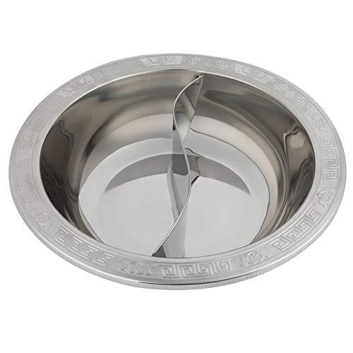 Jadeshay Küchen-Hot Pot, extra dick geteilter Edelstahl-Hot Pot für Induktionsherd Kochtopf Chinesisches Fondue