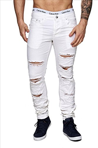 ArizonaShopping Jeansnet Herren Jeans Slim Fit Destroyed Hose Used H1517, Farben:Weiß, Größe Jeans:W33