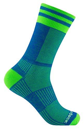 Wrightsock Profi Sportsocke, Laufsocke Modell Coolmesh II in blau grün, Anti-Blasen-System, doppel-lagig, CREW lang, Gr. M