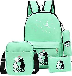 HPADR Mochila Infantil 4 Unids Niños Escuela Bolsas para Niñas Niños Lona Moda Niños Mochila Adolescente Rucksack F Verde