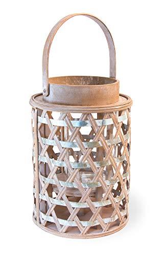 Boston International Coastal Collection Lantern/Candle Holder, Large, Woven Wood and Zinc
