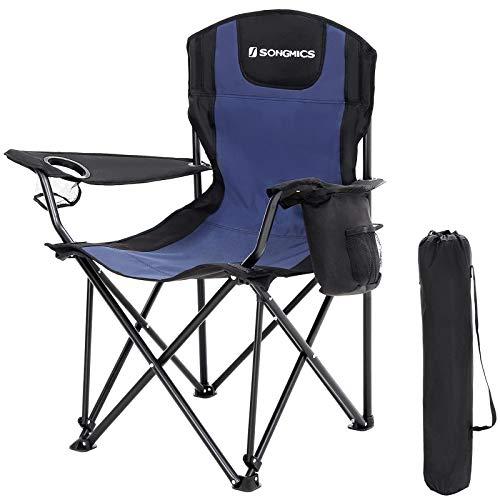 Resistente con Asiento Amplio y Confortable SONGMICS Silla de Camping Plegable Silla para Exterior Azul y Negro GCB10UB MAX Capacidad de Carga 250 Kg