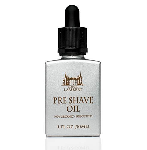 Maison Lambert Pre Shave Oil d'ingrédients biologiques végétalien sans parfum pour les hommes et...