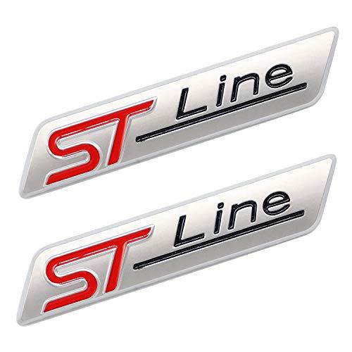 HAOXUAN 2 Piezas 3D Metal ST Line Sticker Car Head Emblem Badge Chrome Sticker, para la mayoría de los Modelos de automóviles,Matte Silver
