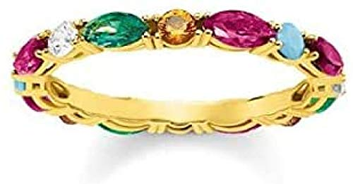 "Thomas Sabo - Anillo de Mujer ""Glam & Soul Piedras de colores"", Plata de Ley 925, baño de oro amarillo de 18 quilates, Talla 56"