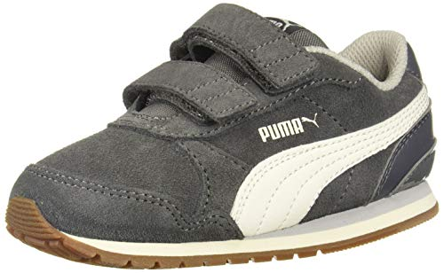 PUMA Unisex ST Runner Velcro Sneaker, Castlerock-Whisper White-Gray Violet, 10.5 M US Little Kid