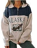 Sudadera de manga larga Alaska para mujer con estampado de letras y animales, de estilo rapero, con cremallera alta, para otoño e invierno Blue Animal Print L
