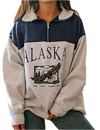 Sudadera de manga larga Alaska para mujer con estampado de letras y animales, de estilo rapero, con cremallera alta, para otoño e invierno Blue Animal Print M