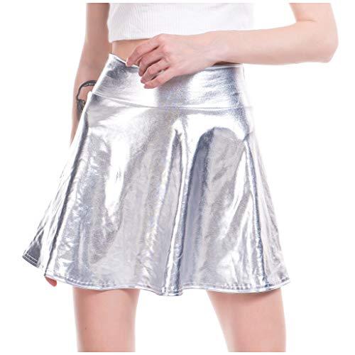 TIFIY Damen Tanzrock Mode A-line Röcke Ausgestelltes Gefaltetes Petticoat Unterrock Faux Leder Ballrock Retro Minirock Tellerrock (Silber,Medium