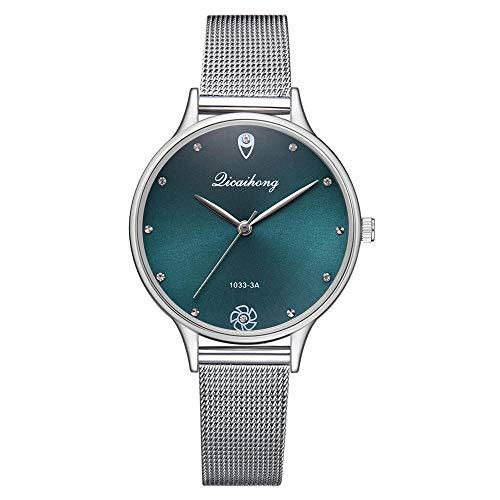 Powzz - Reloj inteligente con esfera verde y correa de cuarzo y moderno diseño creativo con diamantes de imitación, color verde