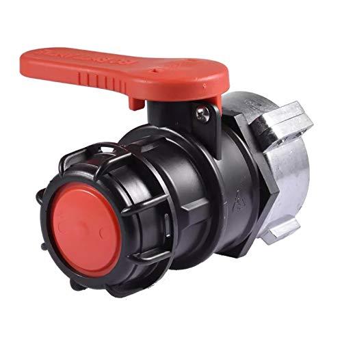 IBC Wassertank Adapter, Universal Auslaufhahn Absperrhahn Adapter, IBC Tank Hahn Klappenhahn Für IBC Container, Wassertank, Regentonne, Kanister (Rot,75mm)