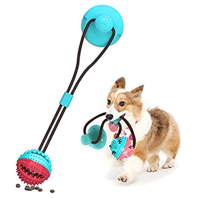 Suction Cup Dog Toy, Pet Molar Bite Toy, Dog Chew Toys, Interactive Pet Treat Ball for Chewers and Toothbrush, Dog Multifunction Interactive Ropes Toys