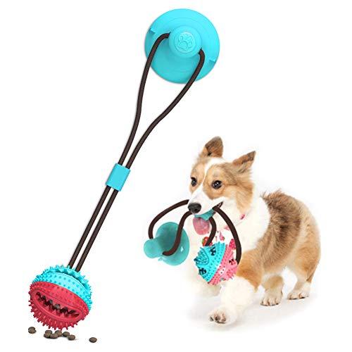 Saugnapf Hundespielzeug, Pet Molar Bite Toy, Hundekauspielzeug, interaktiver Pet Treat Ball für Kauen und Zahnbürste, interaktives Hunde-Multifunktions-Seilspielzeug
