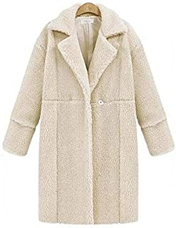 Wwucaihufafa The new large size women's coat lapel lamb wool cashmere cardigan long-sleeved jacket and long sections (Color : White, Size : 4XL)