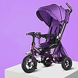 AQWWHY 4 en 1 Kids Trike, Triciclo de bebé con Ruedas de Caucho y del Asiento 360 ° Giratorio, Traje Durante 8 Meses - 5 años, Peso de Carga de 50 kg (Color : B)