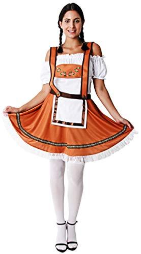 Gojoy Shop- Disfraz Alemn o Alemana para Hombre y Mujeres Carnaval (Contiene Gorro,Camiseta y Pantaln con Tirantes o Camiseta y Vestido con Delantal, Talla Unica) (Mujer, Talla Unica)