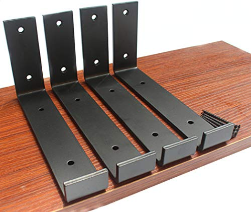 """4 Pack - 7.5""""L x 4""""H x 1.5""""W 5mm Thick Black Hook Brackets, Hook Iron Shelf Brackets, J Bracket, Metal Shelf Bracket, Industrial Shelf Bracket, Modern Shelf Bracket Shelf Supports with Screws"""