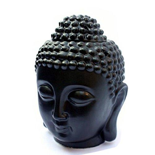 VORCOOL Bouddha Tête de Bouddha Céramique Aromatherapie Four Huile Essentielle Bougies Aroma Lampe (Noir)