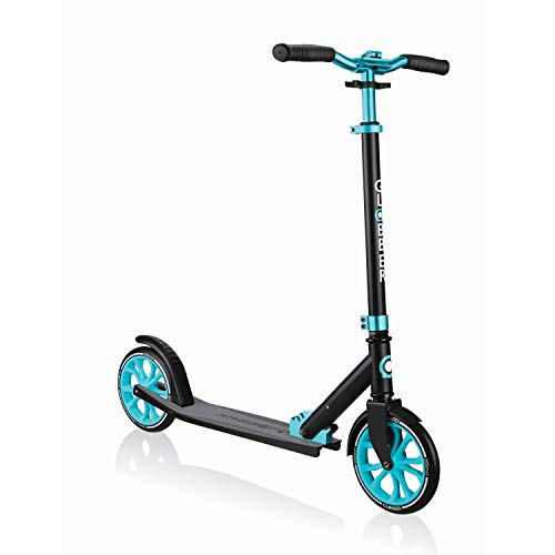 Globber NL 500-205 2-Wheel Folding Kick Scooter - Reflective and Adjustable Height T-Bar - Comfort Handlebar Grips - for Kids 8+, Teens, and Adults (Black & Teal) (684-105)