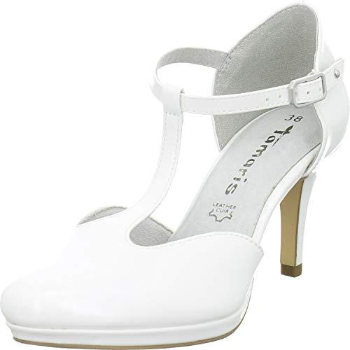 Tamaris Damen 1-24433-23 Schuhe T-Steg Pumps Plateau, Schuhgröße:39 EU, Farbe:Weiß