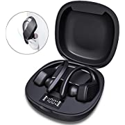 Wireless Headphones Sports, JoyGeek 2020 Bluetooth 5.0 Earphones 42H Playtime Stereo Sound Noise Cancelling Headsets with Mic Charging Case Earbuds with LED Display for Running Gym Fitness