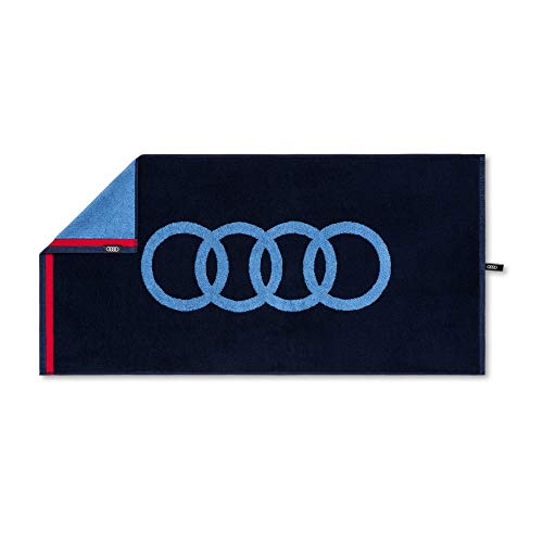 Audi 3132100300 Handtuch 50x100cm Badetuch Strandtuch Ringe Logo, blau