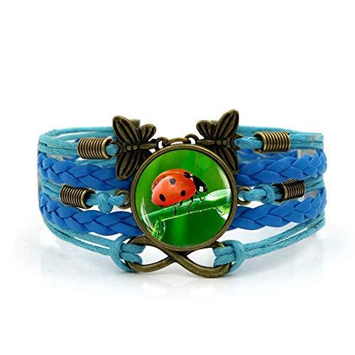 QZH Pulseras para hombre, cuerda azul, verde, mariquita de siete puntos, pulsera de piedras preciosas del tiempo, varias capas tejidas a mano, joyería de estilo europeo y americano