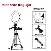 LEDライトリングのためのLEDライトリングのためのLOWM写真撮影のライトライティングのライティングが付いているYouTubeホルダーカメラ電話クリップスタジオ (Color : 20cm with tripod)
