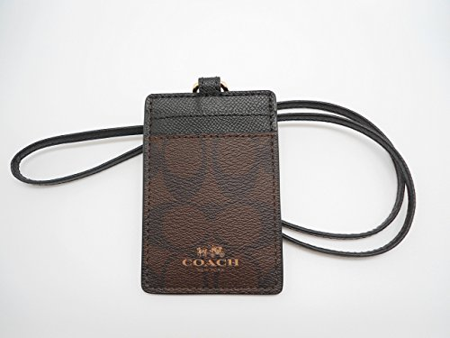 Coach Signature C Brown Black Lanyard, Badge ID Credit Card Holder 63274