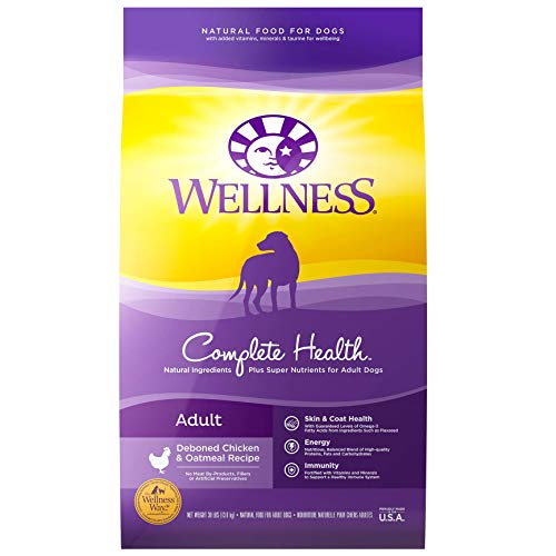 Wellness Complete Health Natural Dry Dog Food with Grain, Chicken & Oatmeal,...