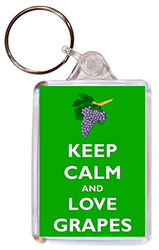 Keep Calm and Love Grapes - Double Sided Large Keyring Key Ring Fob Chain Name Tag Souvenir/Gift/Present