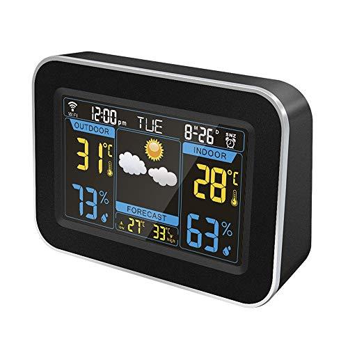 HOOBBI Wetterstation Wireless Digital Innen Außen-Thermometer mit Wecker, großem Farbdisplay Hygrometer Temperatur und Feuchte-Monitor mit Kalender (Color : Schwarz)