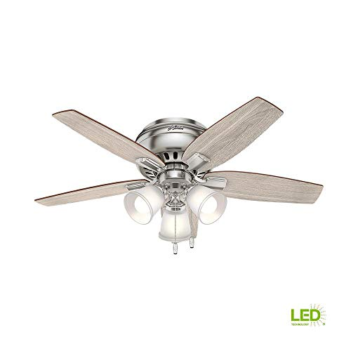 Hunter Echo Bluff 42 in. LED Indoor Brushed Nickel Flush...