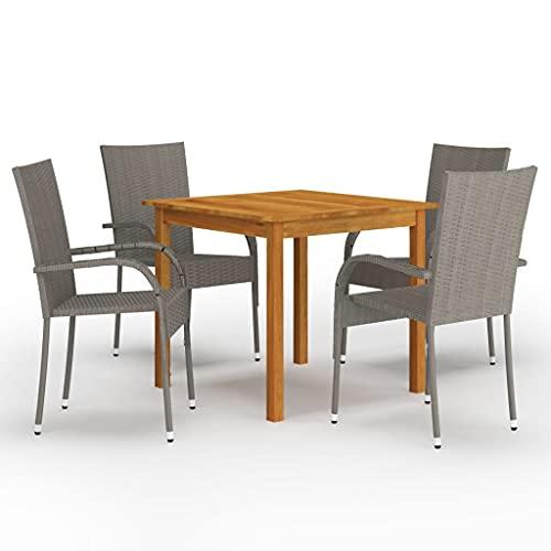 vidaXL Gartenmöbel Set 5-TLG. Sitzgarnitur Sitzgruppe Gartengarnitur Gartenset Tisch Stühle Esstisch Gartentisch Gartenstuhl Sessel Grau