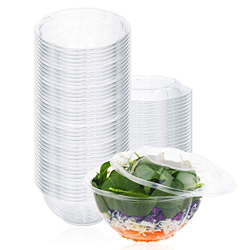 Plastic Salad Bowls (50 Count) 32 Oz. Disposable Salad Bowls with Lids - To-Go Container With Airtight Lids