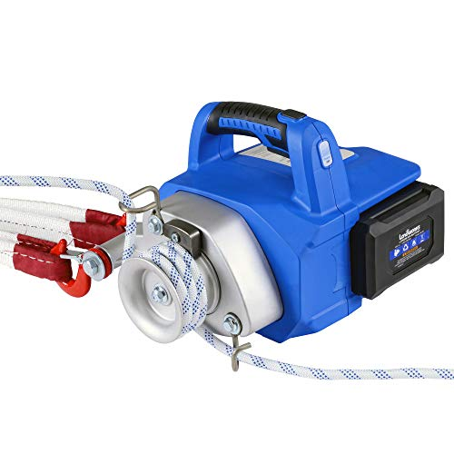 Landworks Electric Towing Capstan Winch Hoist Portable Cordless Brushless Motor Li-Ion Battery Powered 1000-2000 1/2-1 Ton Max Pulling Force for Forestry Hunting Off Road (Low Stretch Rope Included)