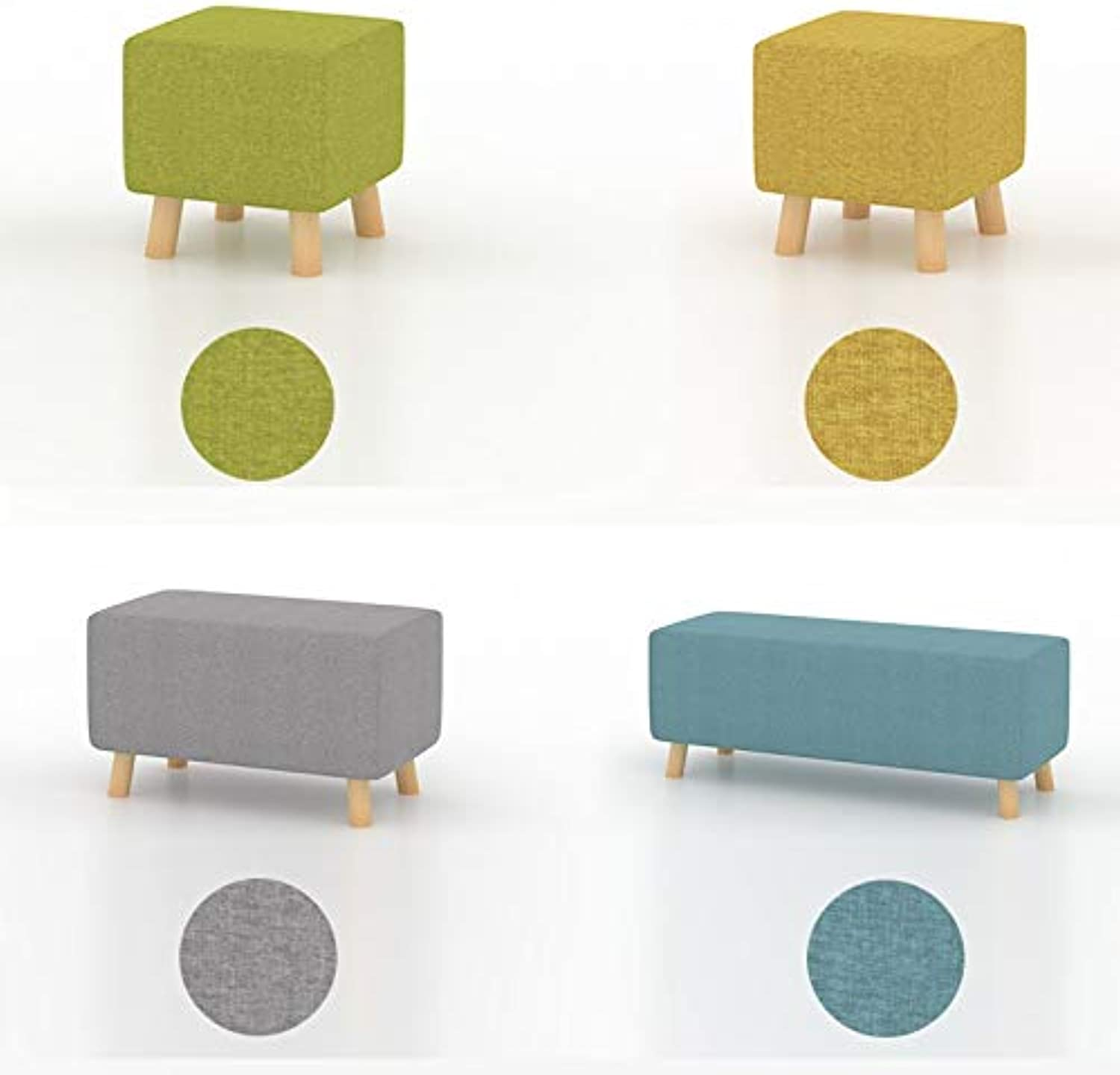 Hzpxsb Small Stool Solid Wood Living Room Seat Stool Entrance Door Change shoes Stool Style Simple Modern Creative Sofa Stool (color   Green 58CM)