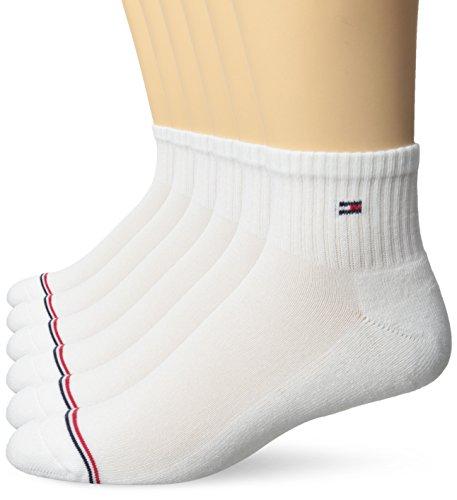 Tommy Hilfiger Men's 6 Pack Basic Sport Quarter, White, Sock Size: 10-13/Shoe Size: 7-12