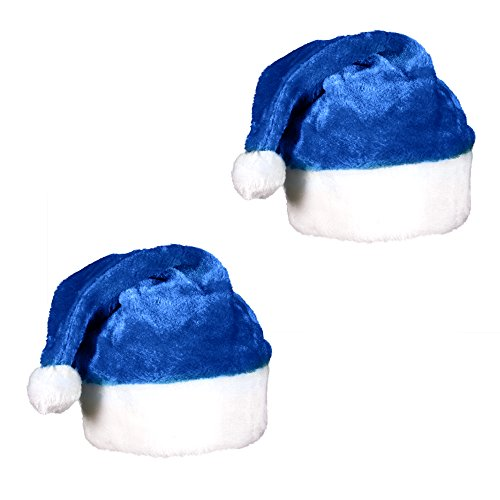 Windy City Novelties (2 Pack) Blue Plush Holiday Christmas Santa Hats