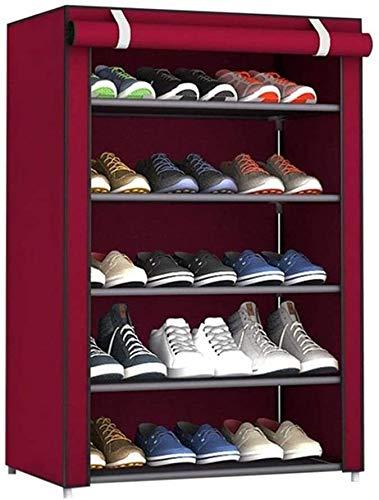 Wddwarmhome 5 Niveles Ajustables Zapatos Rack Gabinete Almacenamiento Organizador Estante Soporte con Tela Oxford Cubierta a Prueba de Polvo de hasta 15 Pares, 23.6x11.8x35.4in (Color : Wine Red)