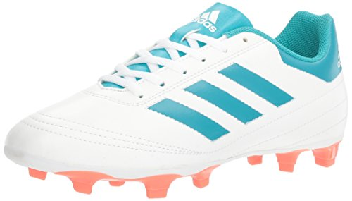 adidas Women's Goletto VI FG W Soccer Shoe, white/energy blue/easy coral, 9 M US