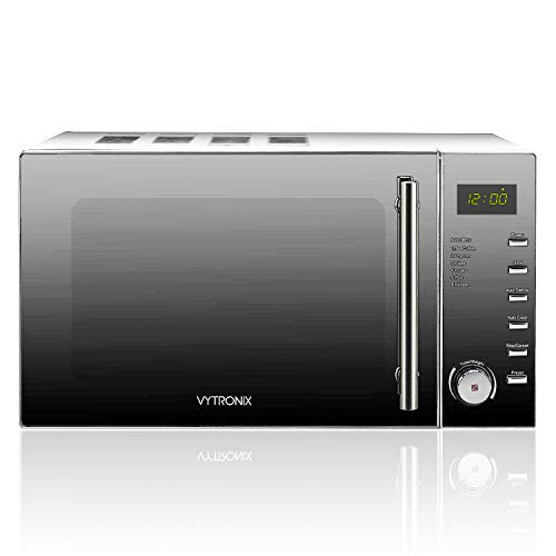 411T02mDViL. SS500  - VYTRONIX VY-C900M Digital Microwave Oven 900W 25L 10 Power Levels Freestanding Solo Grey/Silver